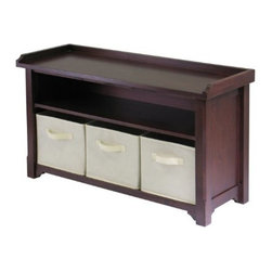 Winsome Wood - Storage Bench with 3 Fabric Baskets, Beige - Our Verona Storage Bench with shelf, seat and 3 beige fabric containers is a great addition to entry ways, bedrooms, craft rooms and family rooms. This walnut finished bench has seat and a shelf for storage with 3 black fabric boxes.