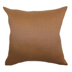 The Pillow Collection - Ochs Quilted Pillow Brown - Add this sophisticated throw pillow to your space. This accent pillow comes with the classic quilted pattern which adds dimension and texture. This decor pillow is made from 100% soft cotton fabric. Combine this square pillow with other solid throw pillows with bold colors for a lovely home decor style. Hidden zipper closure for easy cover removal.  Knife edge finish on all four sides.  Reversible pillow with the same fabric on the back side.  Spot cleaning suggested.