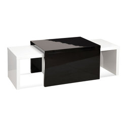 Bassett Mirror - Zoe Nesting Cocktail Table Set - If saving space is a primary concern, this gorgeous set of lacquered nesting cocktail tables should top your list. Featuring two smaller white tables that nest underneath a third black table, this set expands and shrinks at your command.