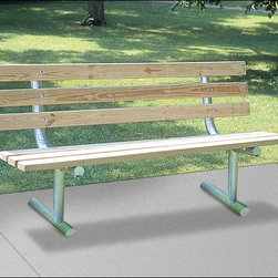 Fifthroom - Portable Park Bench with Back - Our Park Bench is incredibly strong and durable, yet amazingly comfortable.  Available with untreated pine, treated pine, or recycled plastic planks, it is supported by a heavy-duty frame made of galvanized steel.  Ideal for commercial or residential use, this bench is conveniently portable.  That means that you can use it in a park, in the dark, near a train, in the rain, on the street, in the heat, near a school, or by the pool.  You can use it without care � here, there, and everywhere!