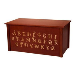Wood Creations Dark Cherry ABC Toy Box - The Dark Cherry ABC Engraved Toy Box is hand-crafted with a solid birch frame as well as a dark cherry finish. The box is finished with a satin clear topcoat to provide protection while letting the natural wood shine through. This large-sized box is safety-hinged so that the lid stands safely open at any height. The box's dimensions are 40L x 21D x 20H inches.The front of the box features a laser-engraved design of the full alphabet in a thematic font. The laser engraving has a resolution of 300dpi (dots per inch). This means it has the same detail as a magazine photograph. This results in high-quality clarity and detail. Assembly Required. The Dark Cherry ABC Engraved Toy Box comes ready to assemble and requires a regular and Phillips screwdriver. About Wood CreationsWood Creations Inc. a family-owned business produces handcrafted toyboxes and blanket chests in Bismarck North Dakota U.S.A. Wood Creations also offers manufactured toyboxes which have some of the same great personalization features as the handcrafted toyboxes at a more affordable price. Committed to customer satisfaction Wood Creations' toyboxes and blanket chests are heirloom quality and built to last a lifetime.