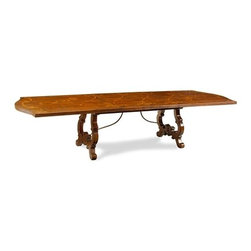 "Chateau Dining Table by John Richard - The Chateau Dining Table has a painted wood top with an ornately carved base. This table includes two leaves that each measure at 18""W."