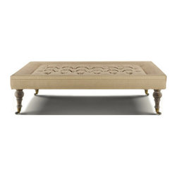 Bensington Tufted Coffee Ottoman-Hemp - Bensington tufted coffee ottoman is a new age style ottoman wraps of Hemp and weathered finish turned oak legs and brass casters. The oak wood is first sanded and then a wire brush is used to raise the grain. A matte finish is then applied.
