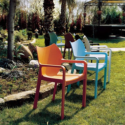 Diva Outdoor Dining Chair - Diva resin dining arm chair. Suitable for commercial use. Stackable.
