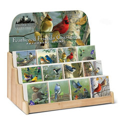 Highland Graphics, Inc. - Feathered Friends Coaster Display 12 Designs 6 of Each Design - Set of 72 single ceramic functional coasters includes free, re-fillable counter top fixture with decorative header, and features six each of 12 different designs in this assortment. Individual designs can be ordered to restock fixture. Made in USA.