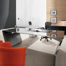 Cattelan Italia - Cattelan Italia | Vega Desk - Made in Italy by Cattelan Italia. Brighten up any modern office or workspace with the Vega Desk, featuring a futuristic design that is worthy of the art museum. Radiating a presence of sophistication and artistic flair, this all-steel desk showcases a reflective surface that is expertly hand polished by Italian master craftsmen.  The slanted legs not only offer support but enhance the overall chic look. Apart from desk size options, the piece comes with a multitude of optional add-ons to meet different work demands, including a matching stainless steel peninsula with a leather two-drawer drawer unit on wheels, and a leather desk pad.