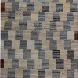 "ALRUG - Handmade Beige/Brown Oriental Kilim  6' 8"" x 10' 3"" (ft) - This Afghan Kilim design rug is hand-knotted with Wool on Wool."
