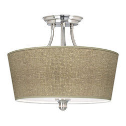 "Giclee Gallery - Contemporary Burlap Print Tapered Drum Giclee Ceiling Light - Define your style with this made-to-order tapered drum shade semi-flushmount ceiling light. The design features an exclusive pattern printed on high-quality canvas. A white acrylic diffuser at the bottom of the shade prevents glare. The center finial circular canopy and drum shade repeat the designs smooth modern curves. This item is custom made-to-order. U.S. Patent # 7347593.Brushed steel finish. Custom made giclee shade. 1/8"" thick acrylic diffuser. Takes three 100 watt bulbs (not included). Canopy is 6 1/2"" wide. 15 1/4"" high. 18"" wide.Please note this shade uses a printed pattern and not actual burlap.  Brushed steel finish.  Custom made giclee shade.  1/8"" thick acrylic diffuser.   Takes three 100 watt bulbs (not included).  Canopy is 6 1/2"" wide.   15 1/4"" high.   18"" wide.  Please note this shade uses a printed pattern and not actual burlap."