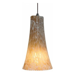 """LBL Lighting - LBL Lighting Indulgent Pendant light - The Indulgent Pendant light has been designed and made by LBL lighting. This pendant light is designed with a fluted glass shade in your choice of amber, red or opal colors with vibrant frit accents. This fixture is attached to a bronze or satin nickel canopy. This fixture Includes 6' of field-cuttable cord to adjust to your likings. The light will come with either an Incandescent 1 x E26 medium base 75W or equivalent A19 lamp; or the fluorescent includes 1 x GX24Q-3 base 26W triple tube CFL. cETL LISTED.          Product Details: The Indulgent Pendant light has been designed and made by LBL lighting. This pendant light is designed with a fluted glass shade in your choice of amber, red or opal colors with vibrant frit accents. This fixture is attached to a bronze or satin nickel canopy. This fixture Includes 6' of field-cuttable cord to adjust to your likings.  The light will come with either an Incandescent 1 x E26 medium base 75W or equivalent A19 lamp; or the fluorescent includes 1 x GX24Q-3 base 26W triple tube CFL. cETL LISTED. Details:                         Manufacturer:            LBL Lighting                            Designer:            LBL Lighting                            Made in:            USA                            Dimensions:            Height: 12.8"""" (32.4 cm) X Diameter: 7"""" (17.8 cm)                            Light bulb:            Incandescent 1 x E26 medium base 75W or equivalent A19 lamp; or the fluorescent includes 1 x GX24Q-3 base 26W triple tube CFL                            Material:            metal, glass"""