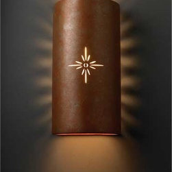 Justice Design Group - Sun Dagger Rust Sunburst Outdoor Wall Sconce - Striking Large Cylinder wall sconce is from the Sun Dagger collection. Sconce features a hand-carved sunburst cutout design and hidden perforations on the sides that create light rays that enhance the fixture. Light has an open top and bottom and a rust patina finish. Fixture is suitable for damp locations and has a mounting center of 5?.  - Made in the USA Justice Design Group - CER-9025W-PATR-SUNB