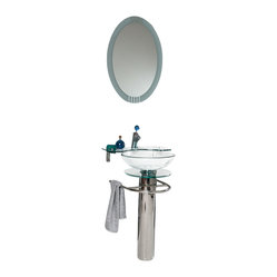 Fresca - Fresca Ovale Modern Vanity with Glass Shelf - Svelte sophistication is yours when you set up this sleek vanity and sink set. The gleaming chrome stand has a handy towel rack, and the oval mirror provides sophisticated reflection for your modern bathroom.