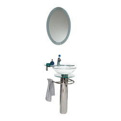 Fresca - Fresca Ovale Modern Glass Bathroom Vanity w/Glass Shelf - Svelte sophistication is yours when you set up this sleek vanity and sink set. The gleaming chrome stand has a handy towel rack, and the oval mirror provides sophisticated reflection for your modern bathroom.