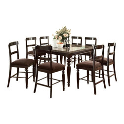 """Acme - 9-Piece Bandele Collection Emparedora Marble Top Counter Height Dining Table Set - 9-Piece Bandele collection emparedora marble top counter height dining table set with turned legs, This set features a dark finish wood dining counter height dining table set with turned wood legs and a marble top, and 8 side chairs with a fabric upholstered seat. Table measures 54"""" x 54"""" x 36"""" H , Side chairs measure 24"""" Seat height. Some assembly required."""