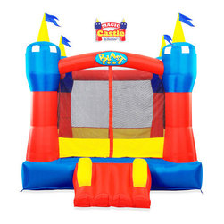 Blast Zone - Magic Castle Bounce House - Features: -Bounce house.-Material: Oxford/PVC.-''Safe Slope'' Slide provides safe, easy access, and the surrounding netting.-Velcro entrance will keep kids safe while they bounce and have a blast.-Extra-durable commercial vinyl floor, and reinforced seams add extra bouncing life.-Low enough for indoor use.-Rolls up to the size of a sleeping bag.-Inflates in 1 minute.-Weight Capacity: 300 lbs..-Easy-store quick deflation valve.-For ages 3 to 8.-Includes inflatable, UL blower, tubing, and spray nozzles.-Includes blower, stakes, and carry bag.-Color: Red, blue and yellow.-Not for commercial use.-Collection: Blast Zone.-Distressed: No.Specifications: -Bouncing Area: 6.5W x 6.33D feet.Dimensions: -Overall Height - Top to Bottom: 94.-Overall Width - Side to Side: 94.-Overall Depth - Front to Back: 130.-Overall Product Weight: 40 lbs.Assembly: -Assembly required.Warranty: -90 Days for bouncers manufacturer's warranty.-1 Year for blowers manufacturer's warranty.