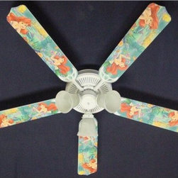 Ceiling Fan Designers Disney Little Mermaid Ariel Indoor Ceiling Fan - Your little girl wants to be a mermaid so bad, which means the Ceiling Fan Designers Disney Little Mermaid Ariel Indoor Ceiling Fan is a perfect addition to her room. This adorable ceiling fan features Ariel, the mermaid princess in full color. It's a fan and light combo so will cool down and light up her room in true mermaid fashion. It comes in your choice of size: 42-inch with 4 blades or 52-inch with 5. The blades are reversible so she gets to see Ariel until she's ready to choose the simple white on the reverse. This might be when she goes away to college! It has a powerful yet quiet 120-volt, 3-speed motor with easy switch for year-round comfort. The 42-inch fan includes a schoolhouse-style white glass shade and requires one 60-watt candelabra bulb (not included). The 52-inch fan has three alabaster glass shades and requires three 60-watt candelabra bulbs (included). Your ceiling fan includes a 15- to 30-year manufacturer's warranty (based on size). It is not an officially licensed product. Licensed products were used as decorations.