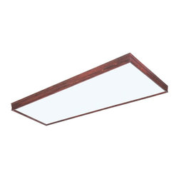 AFX - Decorative Linear Fluorescent Fixture in Cherry (Small) - Choose Size: Small. Small size requires two bulbs. Large size requires four bulbs. Bulbs not included. Flush to traditional molding ceiling frame. Fixture body with a clip on one end and screw on the other. Diffuser is captive in the frame. Housing is die-formed of 22-gauge steel. 0.80 in. thick matte white acrylic diffuser. cULus listed for damp locations. Bulb type: T8. Maximum wattage: 32 Watts. Energy Star qualified. Warranty: Two years limited. Made from solid wood. Made in USA. Mounting distance: 43.75 in.. Small: 49.13 in. W x 11.75 in. D x 3.5 in. H (14.05 lbs.). Large: 49.13 in. W x 16.75 in. D x 3.5 in. H (19 lbs.). Specifications. Assembly InstructionsCan be used in various applications including corridors, kitchens and public spaces. Fixture can be mounted on standard junction box.