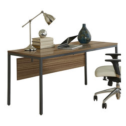 "Jesper Office Furniture - Parsons Edition 63"" Writing Desk with Modesty Panel in Walnut - Features:"
