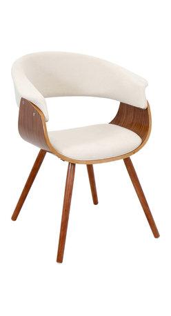 "Lumisource - Vintage Mod Chair, Walnut/Cream - 20.50""L x 24.5""W x 29.5""H"