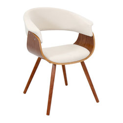 "Lumisource - Vintage Mod Chair, Walnut/Cream - 20.50""L x 24.5""W x 29.5""H"