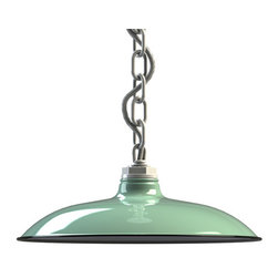 Steber Sinclair Draftsman Chain Hung Pendant - Add industrial flair to living room swag lighting with the Sinclair Draftsman Chain Pendant! This single chain pendant light features a porcelain-enamel shallow bowl shade.