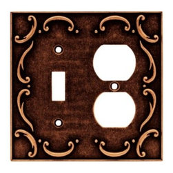Liberty Hardware - Liberty Hardware 64275 French Lace WP Collection 4.96 Inch Switch Plate - Sponge - The French Lace design communicates refined taste and cultivated style. It adds flavor and the appearance of elegant expression. The copper finish exudes warmth and the ambiance of sanctuary. Quality zinc die cast base material. Available in the 10 most popular wall plate configurations.. Width - 4.96 Inch,Height - 4.9 Inch,Projection - 0.3 Inch,Finish - Sponged Copper,Weight - 0.48 Lbs