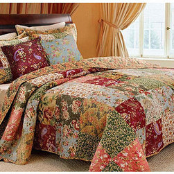 None - Antique Chic 5-piece Full/ Queen-size Quilt Set - Featuring a delightful patchwork of vivid colors in a floral pattern, this beautiful queen-size quilt set will let you sleep in stylish comfort. This set is also intricately stitched with a vintage rose-bound back and edge for an appealing classic look.