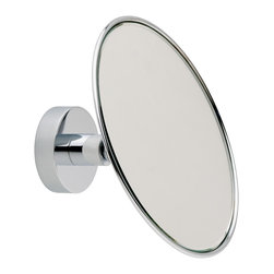 "No drill Bath Mirror- nodrillingrequired - no drilling required 5-1/2"" adjustable bath/ shower mirror by nie wieder bohren Germany. Installs in minutes using the patented nie wieder bohren system designed for all premium surfaces. Mounts directly to mirrors as well! Simple. Safe. Secure."
