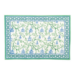 Origin Crafts - Pagoda blue/green placemats (set of 4) - Pagoda Blue/Green Placemats (Set of 4) Our East Asia inspired Pagoda pattern is a perfect fall tabletop addition. Block printed in cool shades of blue and green, they're sure to be a nice addition to any dinner party. 100% cotton canvas. Machine wash cold, tumble dry low, warm iron as needed. Made