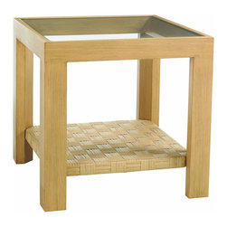 Lexington - Tommy Bahama Canberra Surf & Sand Side Table - For those who take pleasure in coordinating their occasional tables, this side table is the perfect complement to the glass insert cocktail table. Both provide ample surface while showcasing the parquet pattern shelf below.