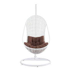 Modway Furniture - Modway Bestow Swing Lounge Chair in White Brown - Swing Lounge Chair in White Brown belongs to Bestow Collection by Modway Establish your space with the Bestow Outdoor Swing Chair. Sink into the plush all-weather white cushion as you evince both goodness and patience. Allow your ideas to leap outward as you bequeath eminence from an elevated state. Set Includes: One - Bestow Swing Chair Stand One - The Bestow Rattan Outdoor Wicker Patio Swing Chair Patio Stand (1), Swing Chair (1)