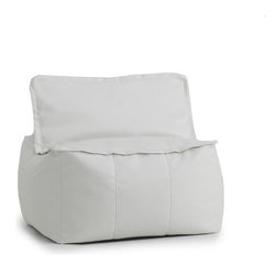Comfort Research - Big Joe Lux Square White Vegan Ottoman - At Comfort Research, being called a square is one of the nicest things you can say about someone. That_s because it refers to our Zip It! Square, a super comfy, ultra soft, glass half-full kind of chair that can do most anything. It can be a seat, a foot rest or a trustworthy  cushion to lean against if the couch is full. And because it_s a member of our Zip It! family, the Square goes the extra yard by unzipping to reveal additional lower back support. So go ahead and call us a square. We_d be honored. Filled with UltimaX Beans that conform to you.  Double stitched and double zippers. Spot clean. Please note this item requires an additional shipping timeline of 10-14 days.