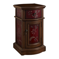 Powell - Powell Misc Accents Chairside Storage Cabinet in Red - Chairside Storage Cabinet in Red belongs to Misc Accents Collection by Powell The deep Red Finish Chairside Cabinet adds some sophistication and class to any room. The classically shaped cabinet features hand painted floral patterns adorning the drawer and door faces. Antique Brass hardware accents the vintage burnished appearance. The perfect piece to add to any entryway, hall, bedroom or living area. Fully Assembled. Storage Cabinet (1)