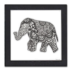 Elephant Pen & Ink - The gorgeous Elephant is a print of the original pen & ink by Pamela Corwin. The tiny intricate patterns in each piece create wonderfully detailed graphic designs. Framed in a classic black frame and available in two sizes, this handsome print will fit in any room .