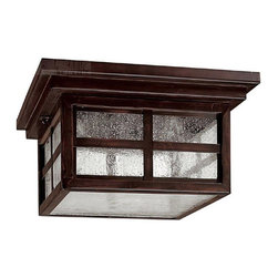 Capital Lighting - Capital Lighting 9917MZ Preston Traditional Outdoor Flush Mount Ceiling Light - Clean, Mission design.  Outdoor ceiling fixture is from the Preston Collection, finished in Mediterranean Bronze with Seeded glass.
