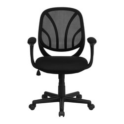 Flash Furniture - Flash Furniture Office Chairs Mesh Executive Swivels X-GG-A-50-YW-OG - Why Go When You Can Stay? The Y-GO task chair and computer chair from Flash Furniture is a Mid-Back chair that packs style and comfort into unmatched usability. This office chair features a black mesh back with flex bars which conform to the natural curve of the user's back. The flex back with the padded foam seat makes this a valuable addition to any home office, professional office or school business department. [GO-WY-05-A-GG]