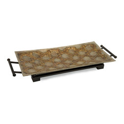 Imax - iMax CK Jasper Rect Glass Tray with Metal Stand X-81721 - The handmade Jasper glass tray with stand is nicely scaled, rich in detail and strong in its graphical appeal.