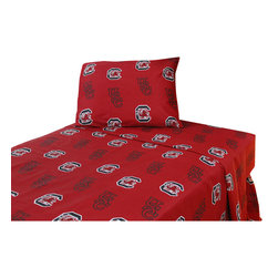 College Covers - South Carolina Gamecocks Sheet Set Collegiate Red Queen Bed - Features: