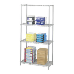 "Safco - Safco 36"" x 18"" Industrial Wire Shelving in Gray - Safco - Wire Storage - 5285GR - Includes 4 shelves 4 posts and snap-together clips. Strong welded wire construction with a per shelf capacity of 1250 lbs. (with weight evenly distributed). Open wire design permits air circulation and prevents dust accumulation. Shelves adjust in 1"" increments. Unit assembles in minutes without tools. Optional add-on unit and extra shelf pack available to meet specific requirements. Available in Black or Metallic Gray powder coat finish."