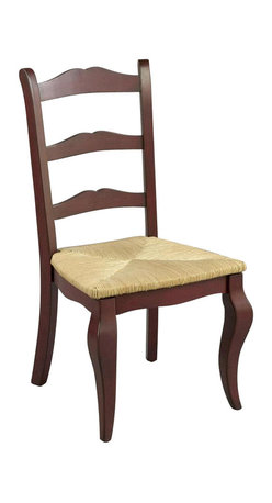 AA Importing - Classic Ladder-Back Dining Chair w Red Finish - Everything's better in red - including this attractive pair of ladder-back dining chairs. Each chair has curved front legs for superior stability. Contoured backs and woven rush seats keep your comfort first. Perfect in your dining area, they also excel elsewhere in your home. Ladder-back chair with rush seat. Pictured in Red. Minimal assembly required. 17 in. L x 18 in. W x 39 in. H (22 lbs.)