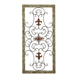 Benzara - Wooden Gate Style Fleur-de-Lis Wall Plaque - This plaque is made with a unique garden gate styled fleur-de-lis ornaments and scrolling ironwork that meanders out from them. The plaque is made into the style of an old fairy tale castle window, adding a beautiful and rustic quality anywhere you hang it. Hang it in your backyard garden or patio, or even inside at the end of a long hallway.