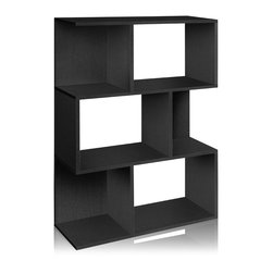 Way Basics - Madison Bookcase, Black - This fresh take on a modern bookcase will hold all your stuff in style — and is easy on the environment to boot. It's sustainably made from recycled paper and uses paper dowels to hold the pieces together. But fear not, it's water resistant and each shelf holds up to 20 pounds. Your books, framed photos and decorative objects have never looked so good. Group several together to line an entry wall, library or living room.