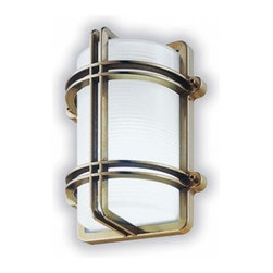"""LBL Lighting - LBL Lighting Clipper G wall sconce - The Clipper G wall or ceiling light from LBL Lighting has been designed by LBL Lighting. This wall or ceiling mounted luminaire is great for indoor and outdoor incandescent lighting. The Clipper G is constructed of an internally ice-etched glass diffuser with a polished brass or chrome housing and guard. This fixture is also equipped with brass lock screws and a polymer gasket. The Clipper G wall or ceiling light exhibits an modern nautical design, along with quality craftsmanship, that is sure to brilliantly illuminate any contemporary environment.  Product Details:  The Clipper G wall or ceiling light from LBL Lighting has been designed by LBL Lighting. This wall or ceiling mounted luminaire is great for indoor and outdoor incandescent lighting. The Clipper G is constructed of an internally ice-etched glass diffuser with a polished brass or chrome housing and guard. This fixture is also equipped with brass lock screws and a polymer gasket. The Clipper G wall or ceiling light exhibits an modern nautical design, along with quality craftsmanship, that is sure to brilliantly illuminate any contemporary environment. Details:                                      Manufacturer:                                      LBL Lighting                                                     Designer:                                     LBL Lighting                                                     Made in:                                     USA                                                     Dimensions:                                      Length: 10.3"""" (26.2 cm) Width: 8.5"""" (21.6 cm) Projection: 5.4"""" (13.7 cm)                                                     Light bulb:                                      1 X 75W incandescent                                                     Material:                                      Glass, Brass"""