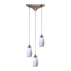 Elk Lighting - Elk Lighting 110-3WH 3 Light Pendant in Satin Nickel & Simply White Glass - 3 Light Pendant in Satin Nickel & Simply White Glass belongs to Milan Collection by Individuality Is What Defines This Exquisite Line Of Hand Blown Glass. Each Piece Is Meticulously Hand Blown With Up To Three Layers Of Uncompromising Beauty And Style. Pendant (1)