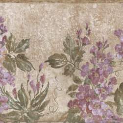 York Wallcoverings - Gold Beige Purple Delphinium Flowers Wallpaper Border - Wallpaper borders bring color, character and detail to a room with exciting new look for your walls - easier and quicker than ever.