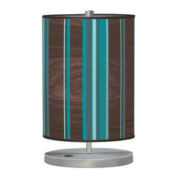 jefdesigns - Vertical Stripey 1 Cylinder Table Lamp - This tasteful take on stripes will inspire you to add more color to your decor. The woodgrain keeps the palette balanced and grounded, while the blue really pops. This modern, whimsical lamp will add personality to your table.