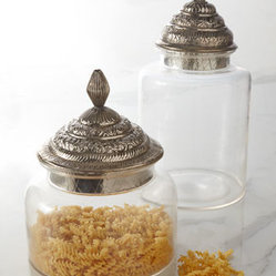 Horchow - Moroccan Canisters - Eastern-inspired canisters feature beautifully detailed, engraved lids to bring a bit of Moroccan mystique as well as storage to kitchens, baths, and more. Designed by Barclay Butera. Made of glass. Engraved brass lid with antiqued-silver finish. Ha...