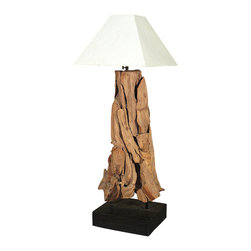 MBW Furniture - Rustic Twisted Sopo Wood Lamp - This is a beautiful rustic sopo wood lamp. It features a traditional removable cone white shade, shown with wrapping for protection, and it has a distinguished base that has overlapping driftwood with a rectangular support. It also includes its ac cord with a convenient on/off switch, however a power converter adapter is needed in order for the plug to fit standard US electrical outlets. It is a beautiful piece that will make a lovely addition to any room.