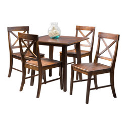 Great Deal Furniture - Potter 5pc Mahogany Stained Wood Dining Set - The Potter 5pc Mahogany Stained Wood Dining Set is the perfect way to complete your dining room. This five-piece set offers you a refined and finished look with minimal assembly. The rich mahogany stain adds a touch of elegance that every dining room needs and the cross-back detailing on the chair backrest completes the simple yet sophisticated nature of this set.
