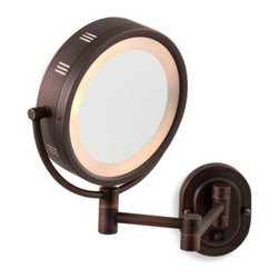 Focus Prod. Group Int'l Llc/bath - Jerdon 5X/1X Bronze Lighted Hardwired Wall Mount Mirror - This convenient wall mount lighted mirror features a bronze finish for a clean, new addition to your bathroom decor. This dual-sided magnification mirror has 5X magnification on one side while the other has 1X magnification.