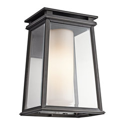 Kichler Lighting - Kichler Lighting Lindstrom Modern / Contemporary Outdoor Wall Sconce X-ZR20494 - Allow yourself to bask in the sophistication, elegance, originality, and delicate glory of this contemporary wall pendant. The clear beveled outside with satin etched opal inside glass provides a soft and bright glow for your living room, bedroom, kitchen, or bathroom. The rubbed bronze finish is highly durable and works well indoors or outside. Share this fixture with friends.